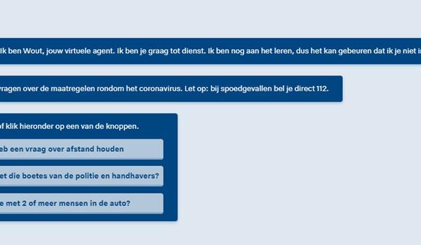 Chatbot politie krijgt 15.000 vragen over coronavirus