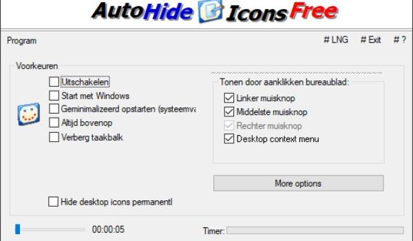 AutoHideDesktopIcons - Bij een mooie achtergrond past een leeg bureaublad