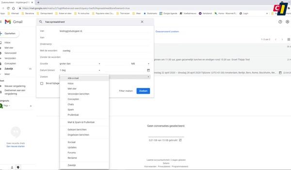 Zoekcriteria opstellen voor Gmail