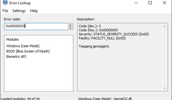 Error Lookup - Achterhaal de betekenis van Windows-foutcodes