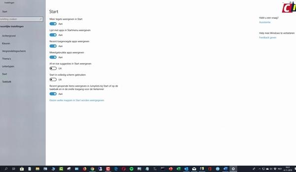 Windows 10: Startmenu aanpassen