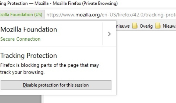 Firefox 42 blokkeert standaard trackers en advertenties in privémodus