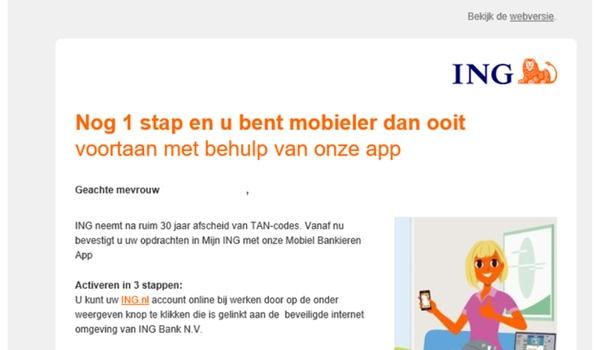 Nieuwe phishing-mails uit naam ING in omloop
