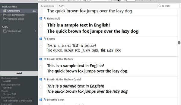 Nexusfont - Beheer eenvoudig grote collecties lettertypen