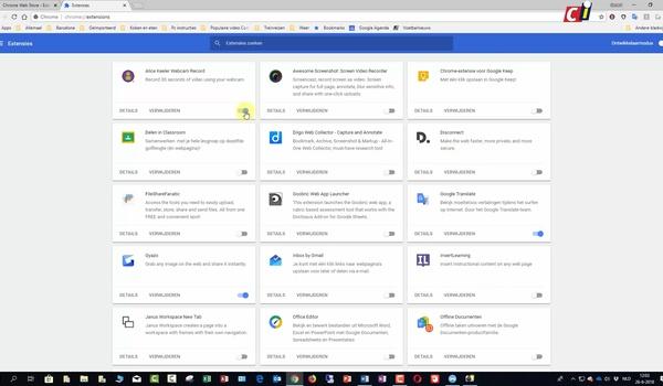 Extensies in Google Chrome