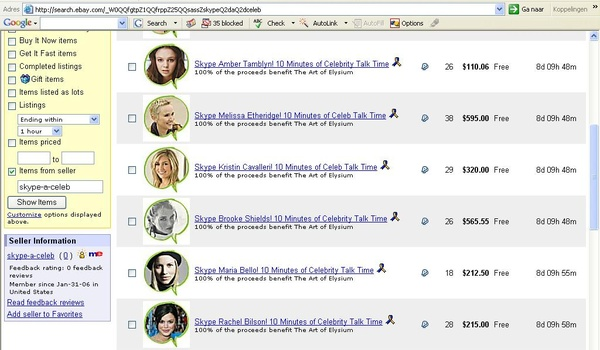eBay veilt voip-gesprekken met celebrity's