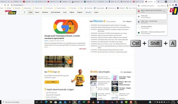 Google Chrome: Tabbladen doorzoeken