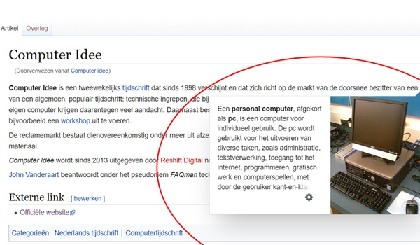 Wikipedia introduceert pagina-voorvertoningen