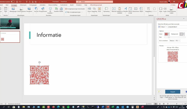 PowerPoint: add-in QR4Office