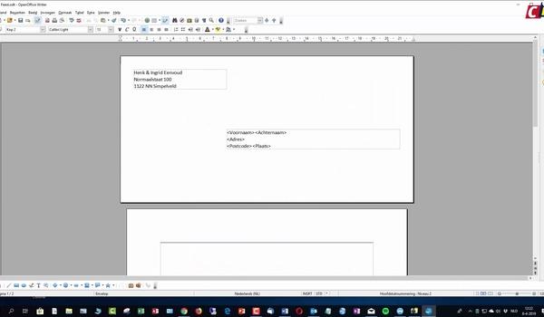 OpenOffice Writer: uit adressenlijst versturen