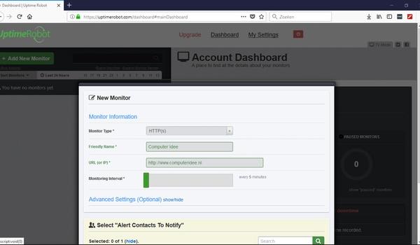 UptimeRobot - Test de bereikbaarheid van websites en computers