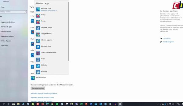Windows: standaardapplicaties wijzingen