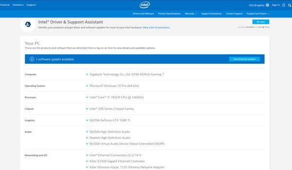 Intel Driver & Support Assistant - Vind nieuwe stuurprogramma's