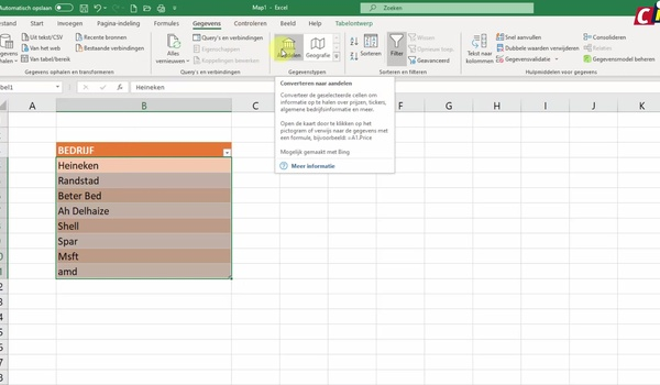 Excel: gegevenstype Aandelen