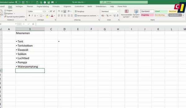 Excel: Opsommingstekens