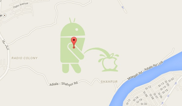 Android-logo plast op Apple-logo in Google Maps