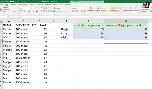 Excel: De functie SOMMEN.ALS