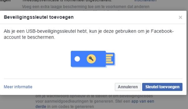 Facebook biedt mogelijkheid tot inloggen met usb-stick