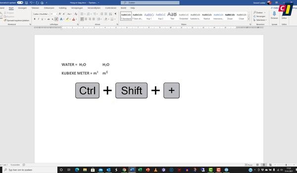 Office 365: superscript en subscript