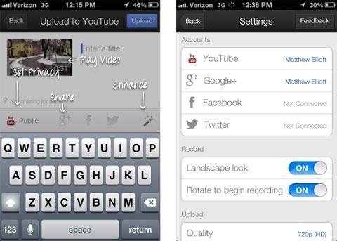YouTube Capture screens