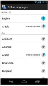 Google Translate offline languages