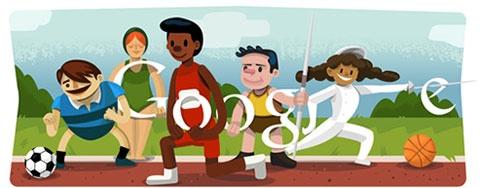 Openingsceremonie Olympische Spelen 2012 Google Doodle