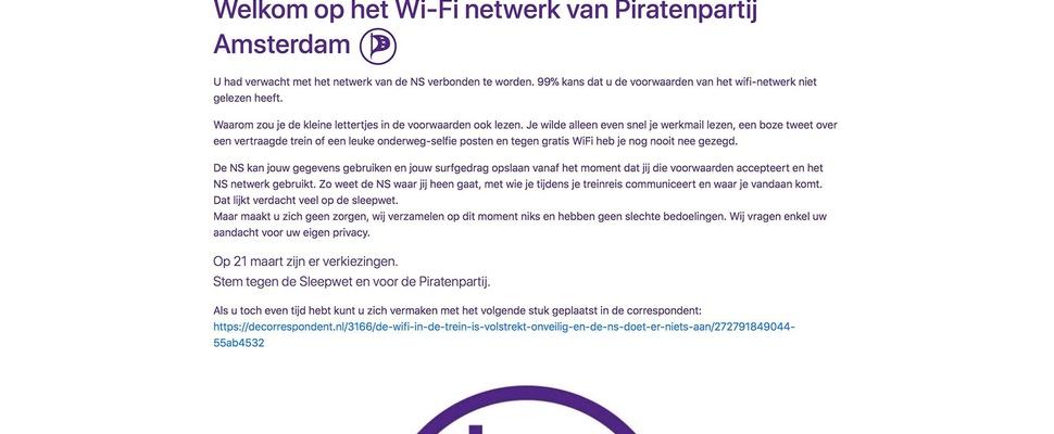Piratenpartij kaapt wifi in de trein van NS