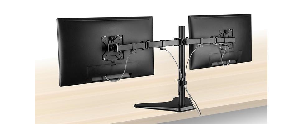 EW1536 Bureausteun houdt twee schermen in de lucht