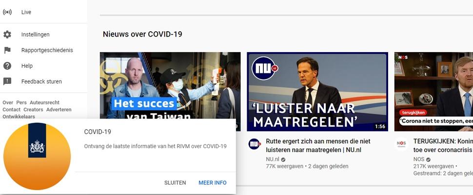 YouTube zet betrouwbare corona-video's in de spotlight