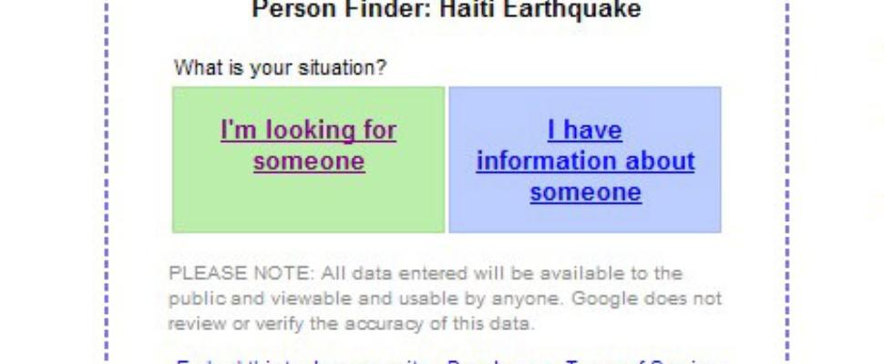 Google zet speciale zoeksite vermiste Haitianen online