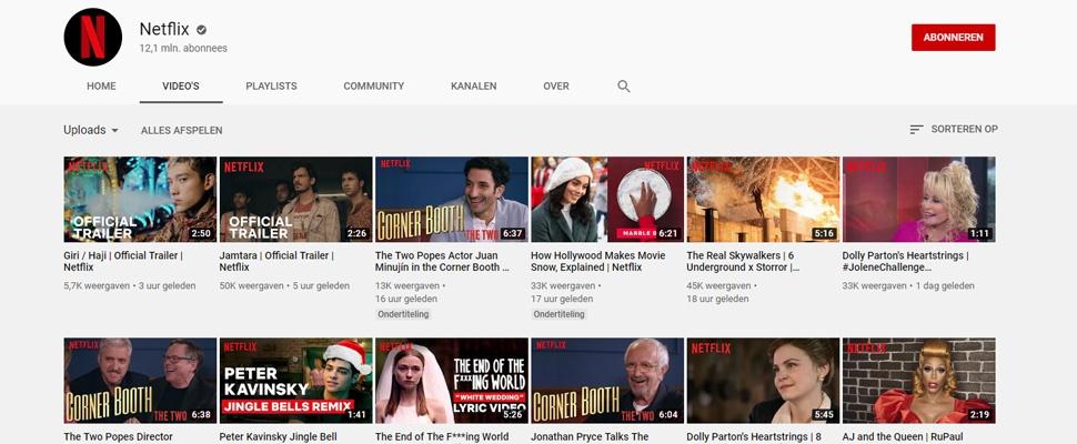 Populariteit YouTube-kanaal Netflix in 2019 verdubbeld