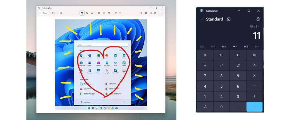 Nieuwe look voor Rekenmachine, Mail en meer in Windows 11