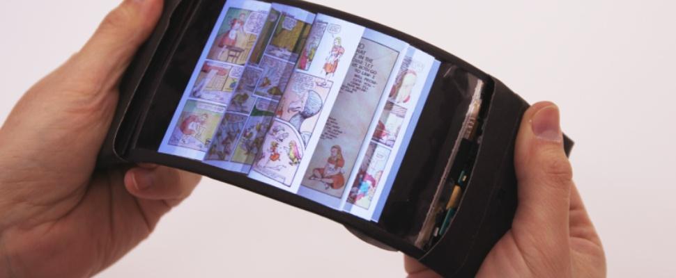Blader door eBooks door flexibel scherm te buigen