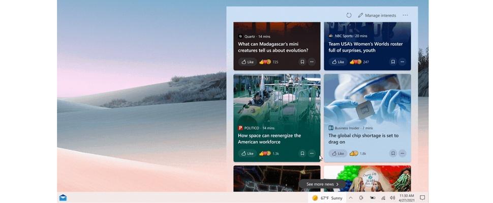 Microsoft rolt nieuws en weer-widget uit voor Windows 10