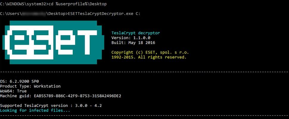 TeslaCrypt-ransomware te omzeilen via ontsleutel-software ESET