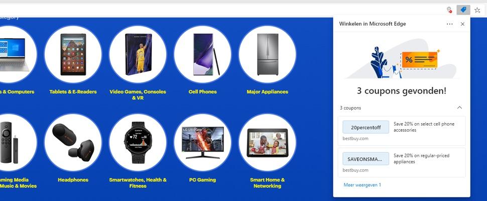 Edge-browser toont kortingscodes bij bezoeken webshops