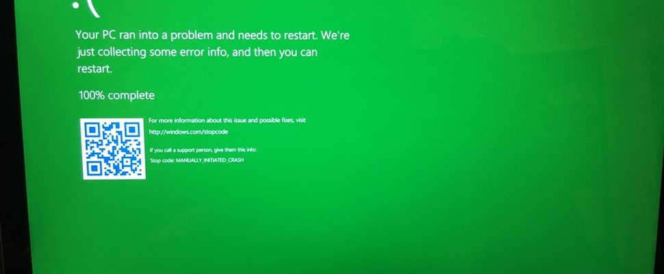 Windows' blue screen of death wordt... Groen!