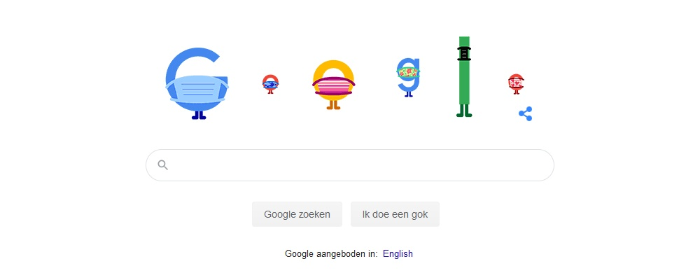 Zelfs het Google-logo draagt vandaag een mondkapje