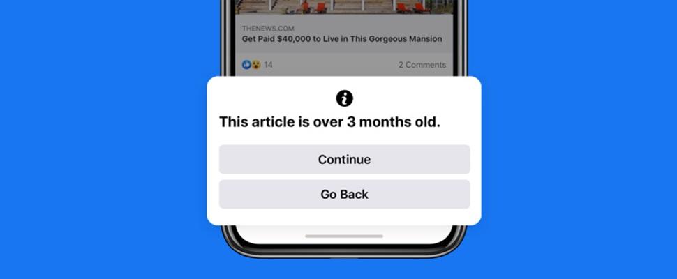 Facebook gaat waarschuwen bij het delen van oud nieuws