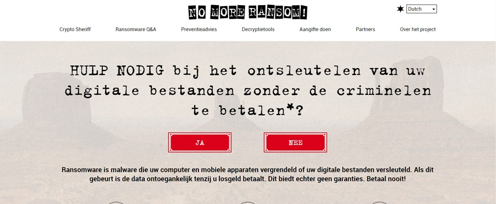 No More Ransom-website nu volledig Nederlands