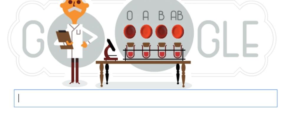 Karl Landsteiner herdacht door Google