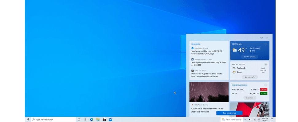 Microsoft test weerbericht en nieuws in taakbalk Windows 10