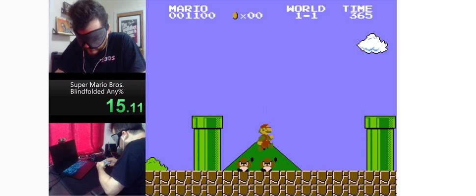 Geblinddoekte gamer speelt Mario in recordtempo uit