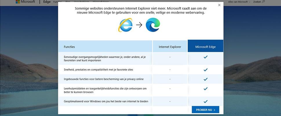 Veel sites niet meer in Internet Explorer te openen