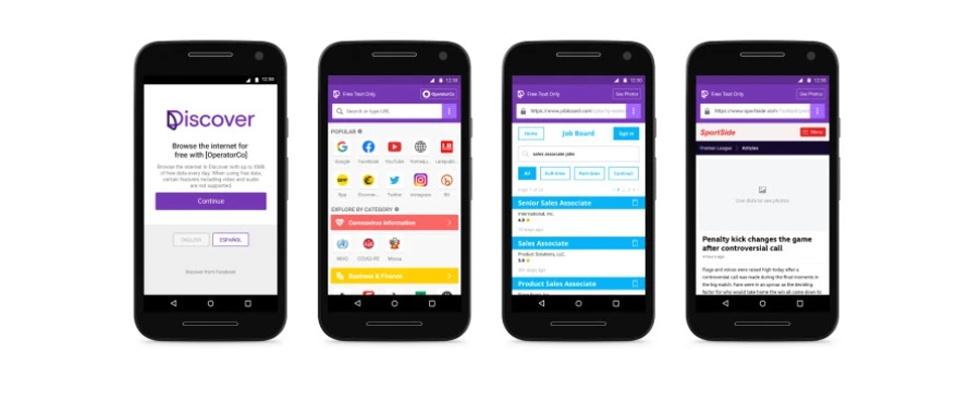Facebook test app voor gratis mobiel internet